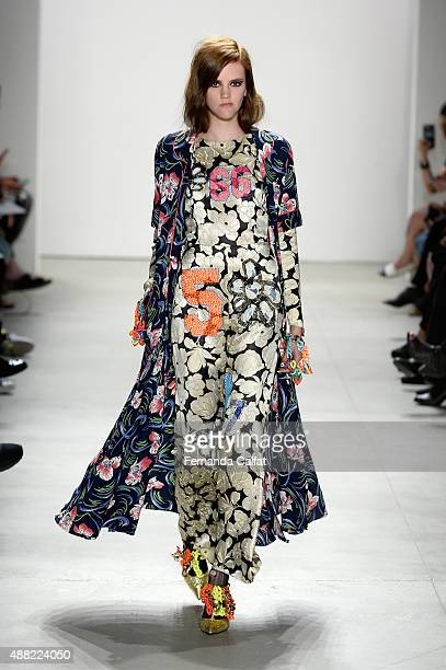 A model walks the runway wearing Libertine Spring 2016 during New York Fashion Week The Shows at The Gallery Skylight at Clarkson Sq on September 14...