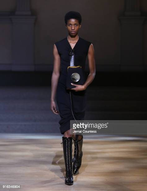 A model walks the runway wearing Linder during New York Fashion Week at St Marks Church on February 9 2018 in New York City