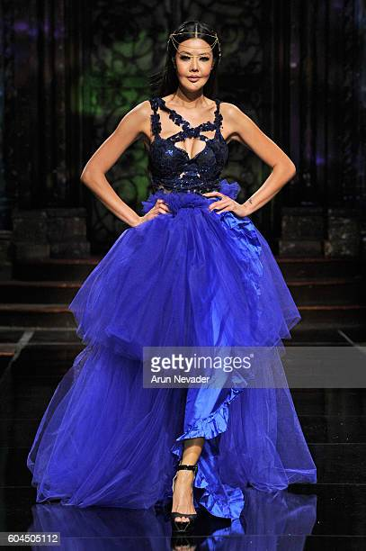 A model walks the runway wearing Lisseth Corrao at Art Hearts Fashion NYFW The Shows presented by AIDS Healthcare Foundation at The Angel Orensanz...