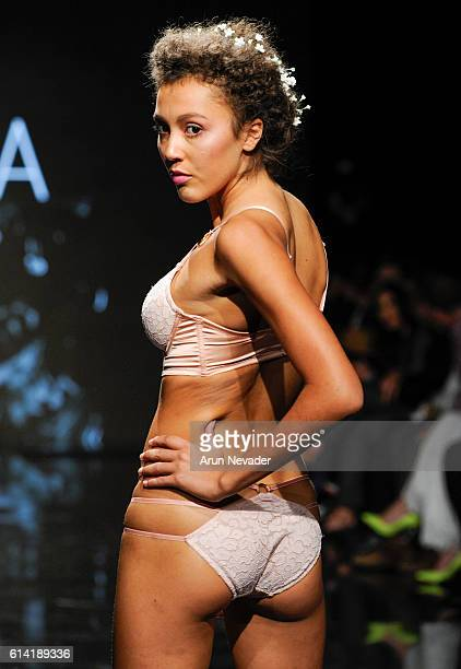 A model walks the runway wearing Liviara at Art Hearts Fashion Los Angeles Fashion Week presented by AIDS Healthcare Foundation on October 11 2016 in...