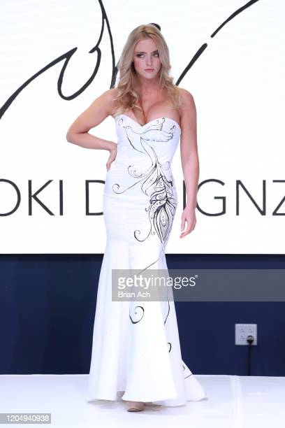 Model walks the runway wearing LOKI Designz during NYFW Powered By hiTechMODA on February 08, 2020 in New York City.