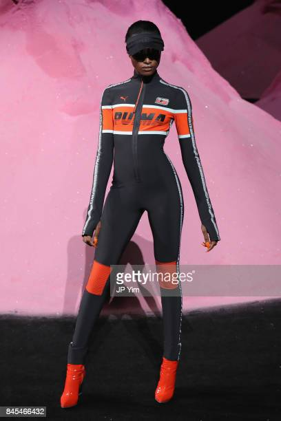 A model walks the runway wearing Look 19 at the FENTY PUMA by Rihanna Spring/Summer 2018 Collection at Park Avenue Armory on September 10 2017 in New...