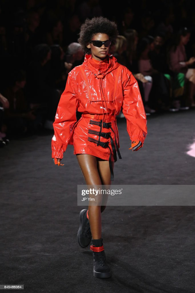 A model walks the runway wearing Look 22 at the FENTY PUMA by Rihanna Spring/Summer 2018 Collection at Park Avenue Armory on September 10, 2017 in New York City.