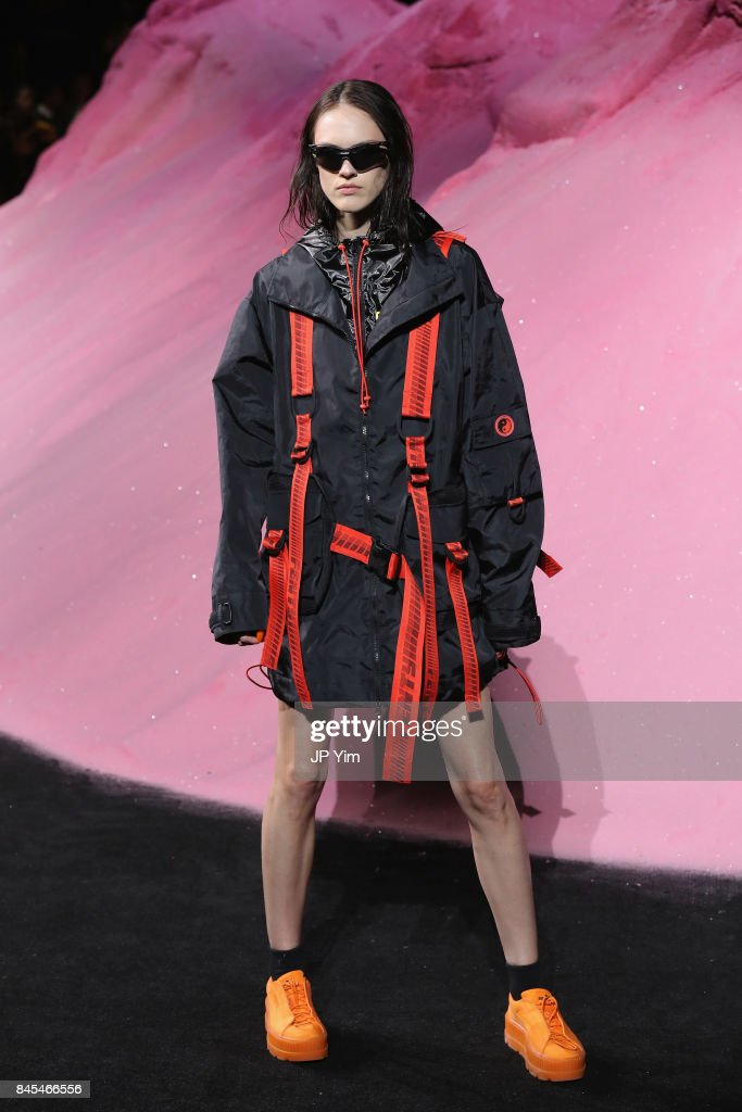 A model walks the runway wearing Look 23 at the FENTY PUMA by Rihanna Spring/Summer 2018 Collection at Park Avenue Armory on September 10, 2017 in New York City.