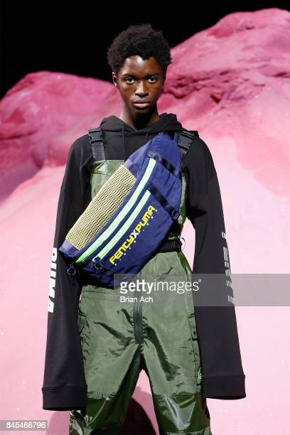 A model walks the runway wearing Look 43 at the FENTY PUMA by Rihanna Spring/Summer 2018 Collection at Park Avenue Armory on September 10 2017 in New...
