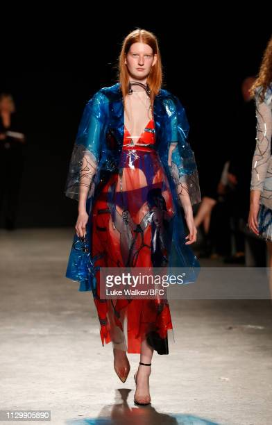 A model walks the runway wearing Louisa Yung at the University of Westminster BA show during London Fashion Week February 2019 on February 15 2019 in...