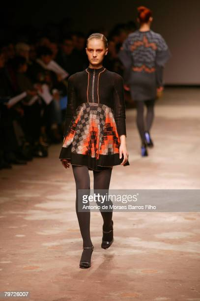A model walks the runway wearing Louise Goldin Autumn/Winter 2008/09 during London Fashion Week at the University of Westminster on February 11 2008...