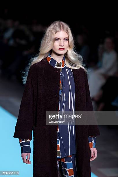 A model walks the runway wearing Lovechild 1979' latest collection for women during the Copenhagen Fashion Week Autumn/Winter 2016 The show took...