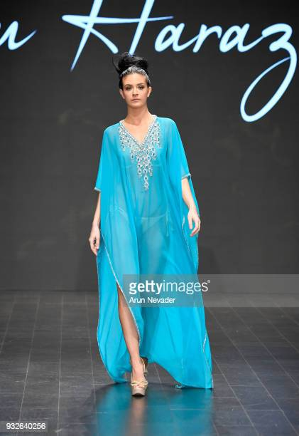 A model walks the runway wearing Lulu Harazan at Los Angeles Fashion Week Powered by Art Hearts Fashion LAFW FW/18 10th Season Anniversary at The...
