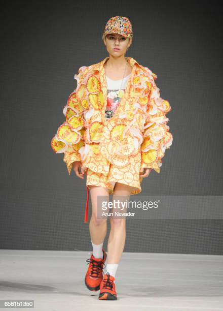 A model walks the runway wearing Machiomizumachi at Vancouver Fashion Week Fall/Winter 2017 at Chinese Cultural Centre of Greater Vancouver on March...