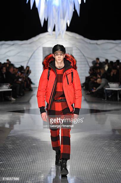 A model walks the runway wearing Mackage 2016 collection during Toronto Fashion Week Fall 2016 at David Pecaut Square on March 16 2016 in Toronto...