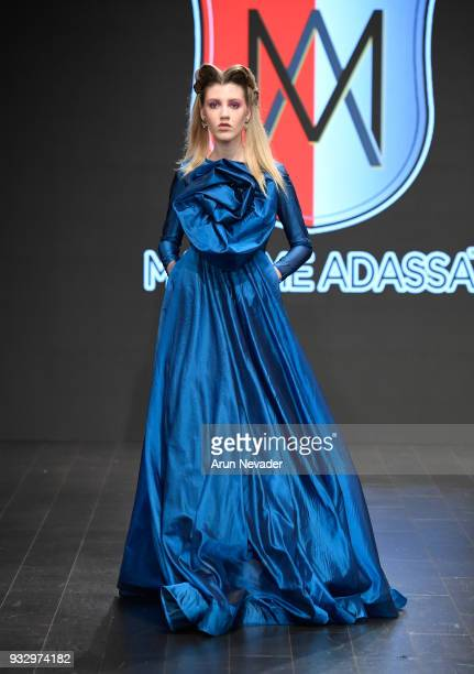 A model walks the runway wearing Madamme Adassa at Los Angeles Fashion Week Powered by Art Hearts Fashion LAFW FW/18 10th Season Anniversary at The...