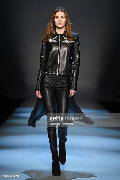 A model walks the runway wearing Maram 2016 collection during Toronto Fashion Week Fall 2016 at David Pecaut Square on March 18 2016 in Toronto Canada