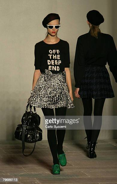 A model walks the runway wearing Marc by Marc Jacobs during MercedesBenz Fashion Week at New York State Armory on February 5 2008 in New York City