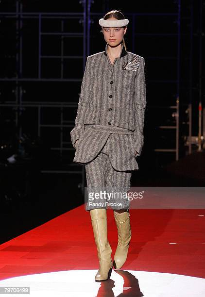 A model walks the runway wearing Marc Jacobs Fall 2008 collection during MercedesBenz Fashion Week Fall 2008 at New York State Armory on February 8...