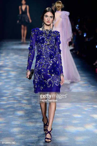 Model walks the runway wearing Marchesa Fall 2016 during New York Fashion Week: The Shows at The Dock, Skylight at Moynihan Station on February 17,...