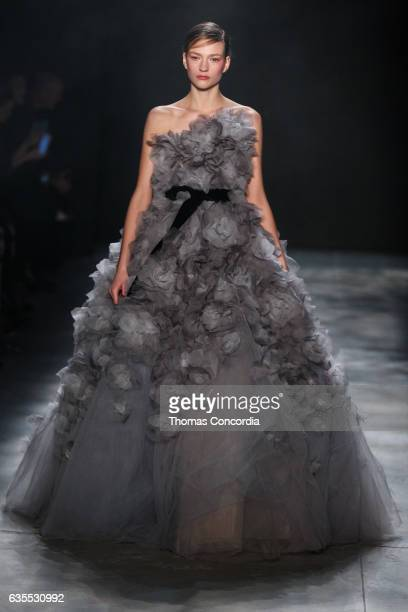 Model walks the runway wearing Marchesa Fall 2017 during New York Fashion Week at Gallery 2, Skylight Clarkson Sq on February 15, 2017 in New York...