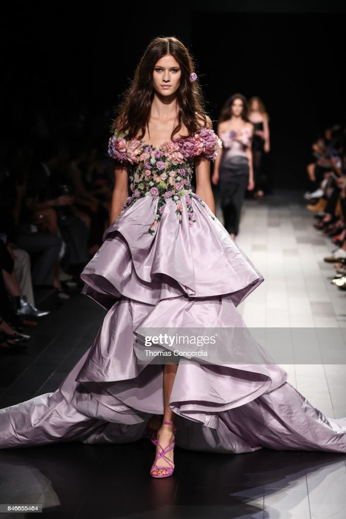A model walks the runway wearing Marchesa Spring 2018 during New York Fashion Week on September 13, 2017 in New York City.