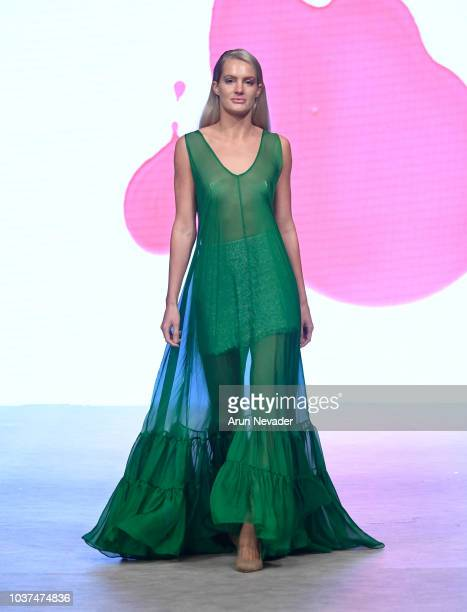 A model walks the runway wearing Maria del Pilar Beristain Aguilar at Vancouver Fashion Week Spring/Summer 19 Day 4 on September 20 2018 in Vancouver...