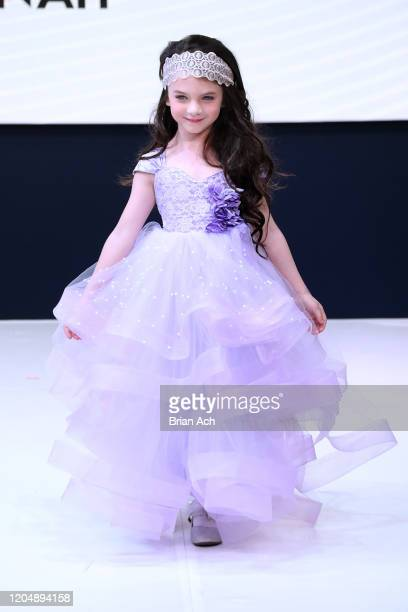 A model walks the runway wearing Marie Belle Couture during NYFW Powered By hiTechMODA on February 08 2020 in New York City