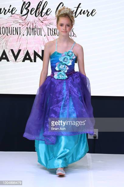Model walks the runway wearing Marie Belle Couture during NYFW Powered By hiTechMODA on February 08, 2020 in New York City.