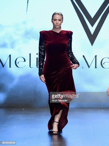 A model walks the runway wearing Melissa Mercedes at Los Angeles Fashion Week Powered by Art Hearts Fashion LAFW FW/18 10th Season Anniversary at The...