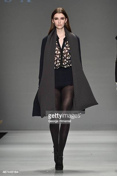 A model walks the runway wearing Melissa Nepton fall 2015 collection during World MasterCard Fashion Week Fall 2015 at David Pecaut Square on March...