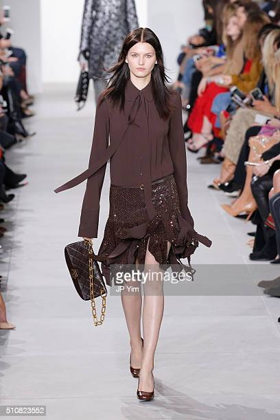 A model walks the runway wearing Michael Kors Fall 2016 During New York Fashion Week The Shows at Spring Studios on February 17 2016 in New York City
