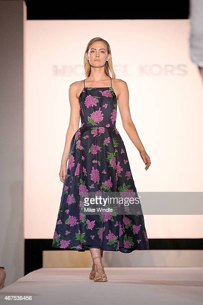Model walks the runway wearing Michael Kors spring 2015 collection during the Sports Spectacular Luncheon, Benefiting Cedars-Sinai at The Beverly...