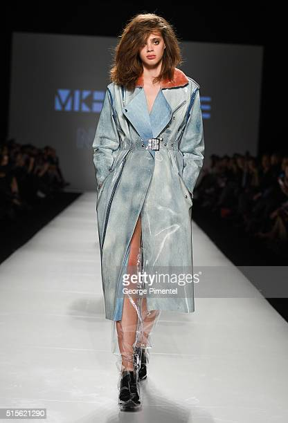 A model walks the runway wearing Mikhael Kale featuring Neenyo Fall 2016 collection during Toronto Fashion Week Fall 2016 at David Pecaut Square on...