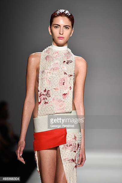 A model walks the runway wearing Mikhael Kale spring 2016 collection at David Pecaut Square on October 19 2015 in Toronto Canada
