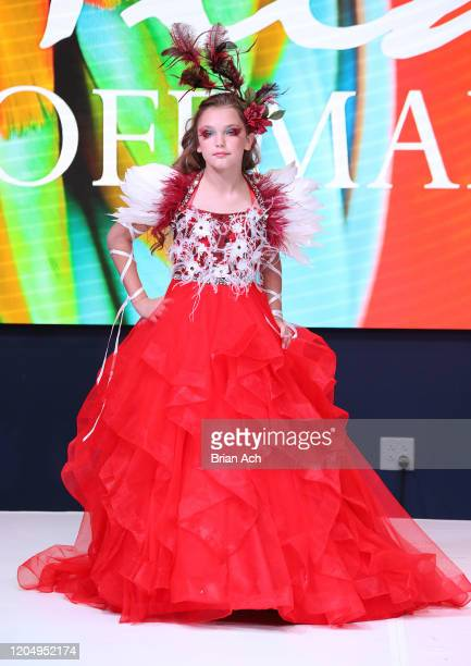 A model walks the runway wearing Mila Hoffman Couture during NYFW Powered By hiTechMODA on February 08 2020 in New York City