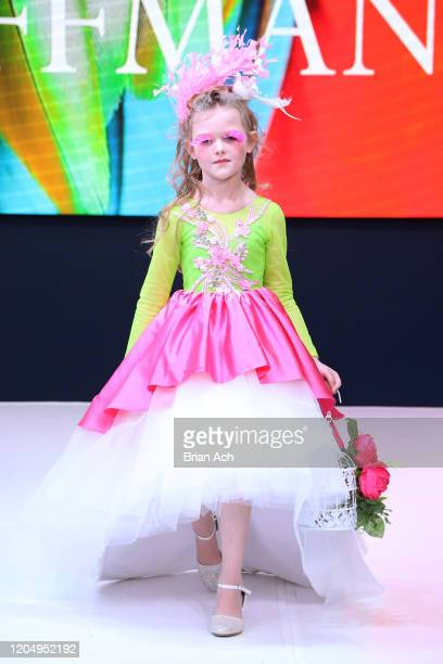 Model walks the runway wearing Mila Hoffman Couture during NYFW Powered By hiTechMODA on February 08, 2020 in New York City.