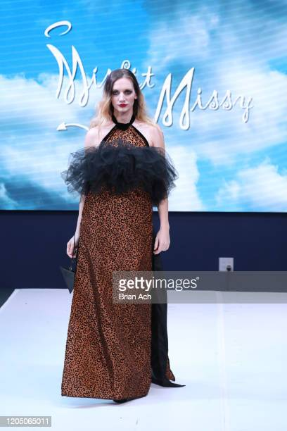 Model walks the runway wearing MisfitMissy during NYFW Powered By hiTechMODA on February 08, 2020 in New York City.