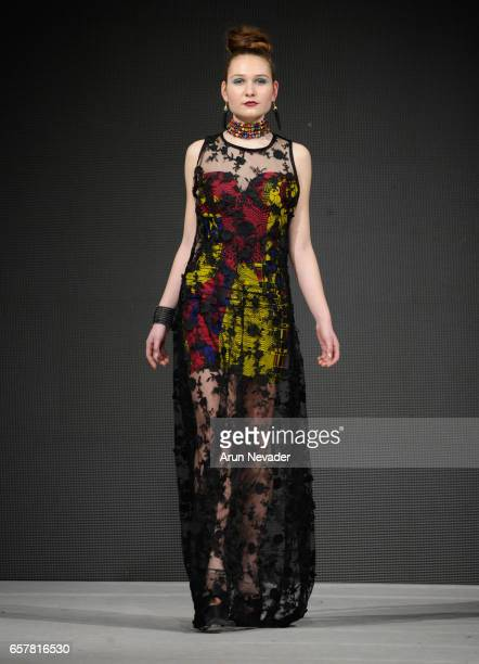 A model walks the runway wearing Misi Afrique at Vancouver Fashion Week Fall/Winter 2017 at Chinese Cultural Centre of Greater Vancouver on March 25...