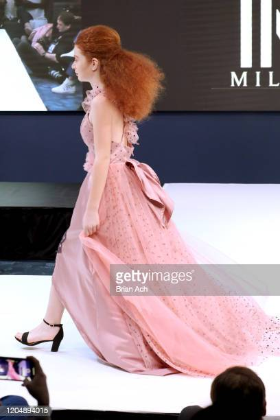 Model walks the runway wearing MM Milano Couture during NYFW Powered By hiTechMODA on February 08, 2020 in New York City.