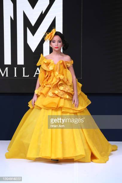 A model walks the runway wearing MM Milano Couture during NYFW Powered By hiTechMODA on February 08 2020 in New York City