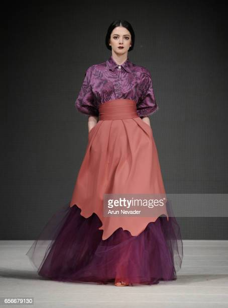 Model walks the runway wearing Moskal at Vancouver Fashion Week Fall/Winter 2017 at Chinese Cultural Centre of Greater Vancouver on March 22, 2017 in...