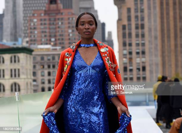 Model walks the runway wearing N. Y. L. A C O U T U R E during the Flying Solo show on February 13, 2021 in New York City.