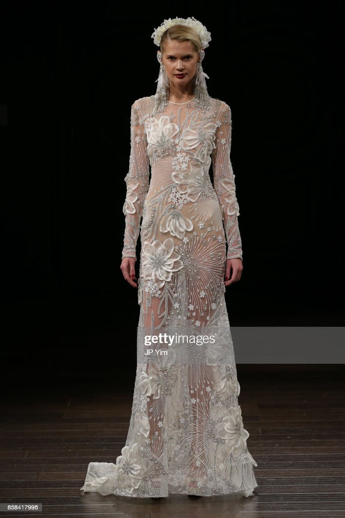 A model walks the runway wearing Naeem Khan Bridal Fall 2018 on October 6, 2017 in New York City.