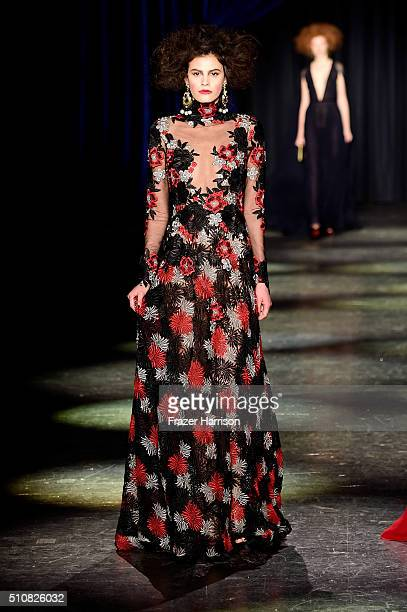 Model walks the runway wearing Naeem Khan Fall 2016 during New York Fashion Week: The Shows at The Arc, Skylight at Moynihan Station on February 17,...