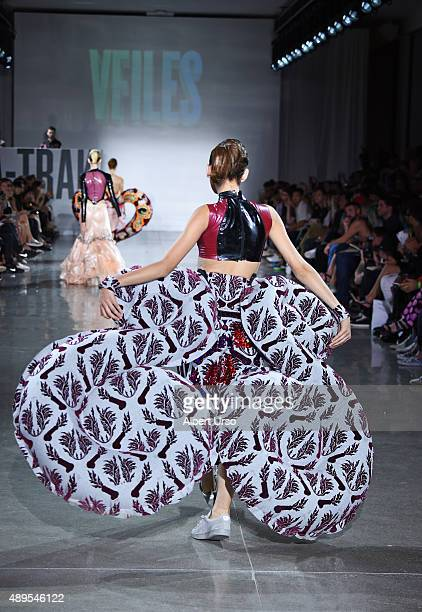 A model walks the runway wearing Namilia at the VFILES fashion show during Spring 2016 New York Fashion Week The Shows at Spring Studios on September...