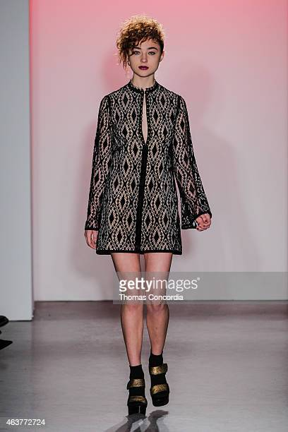 A model walks the runway wearing Nanette Lepore during MercedesBenz Fashion Week at Pop14 on February 18 2015 in New York City