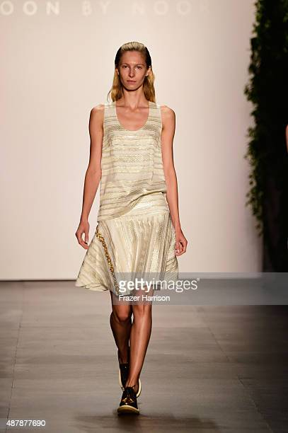 A model walks the runway wearing Noon By Noor Spring 2016 during New York Fashion Week The Shows at The Dock Skylight at Moynihan Station on...