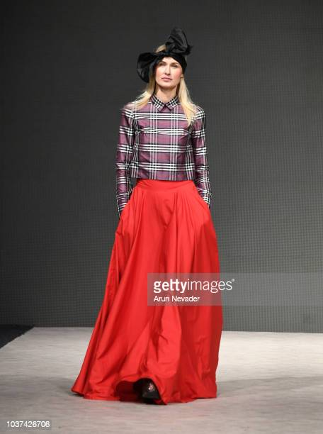 A model walks the runway wearing Ombradifoglia at Vancouver Fashion Week Spring/Summer 19 Day 4 on September 20 2018 in Vancouver Canada