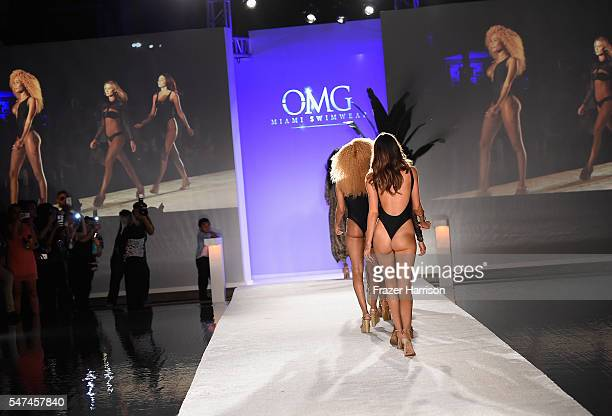 Model walks the runway wearing OMG Swimwear at the Official Kick-Off Party of SWIMMIAMI hosted by Planet Fashion TV at W South Beach Hotel &...