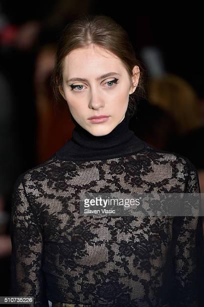 A model walks the runway wearing Oscar De La Renta Fall 2016 during New York Fashion Week at Prince George Ballroom on February 16 2016 in New York...