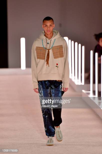 Model walks the runway wearing Palm Angels: The Shows during New York Fashion Week on February 09, 2020 in New York City.