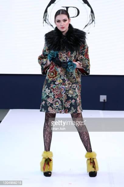 Model walks the runway wearing Pelush Luxury Faux Furs during NYFW Powered By hiTechMODA on February 08, 2020 in New York City.
