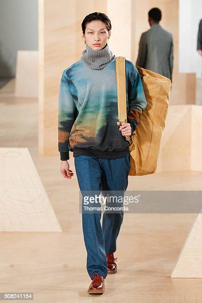 Model walks the runway wearing Perry Ellis during New York Fashion Week Men's Fall/Winter 2016 at Skylight at Clarkson Sq on February 3, 2016 in New...